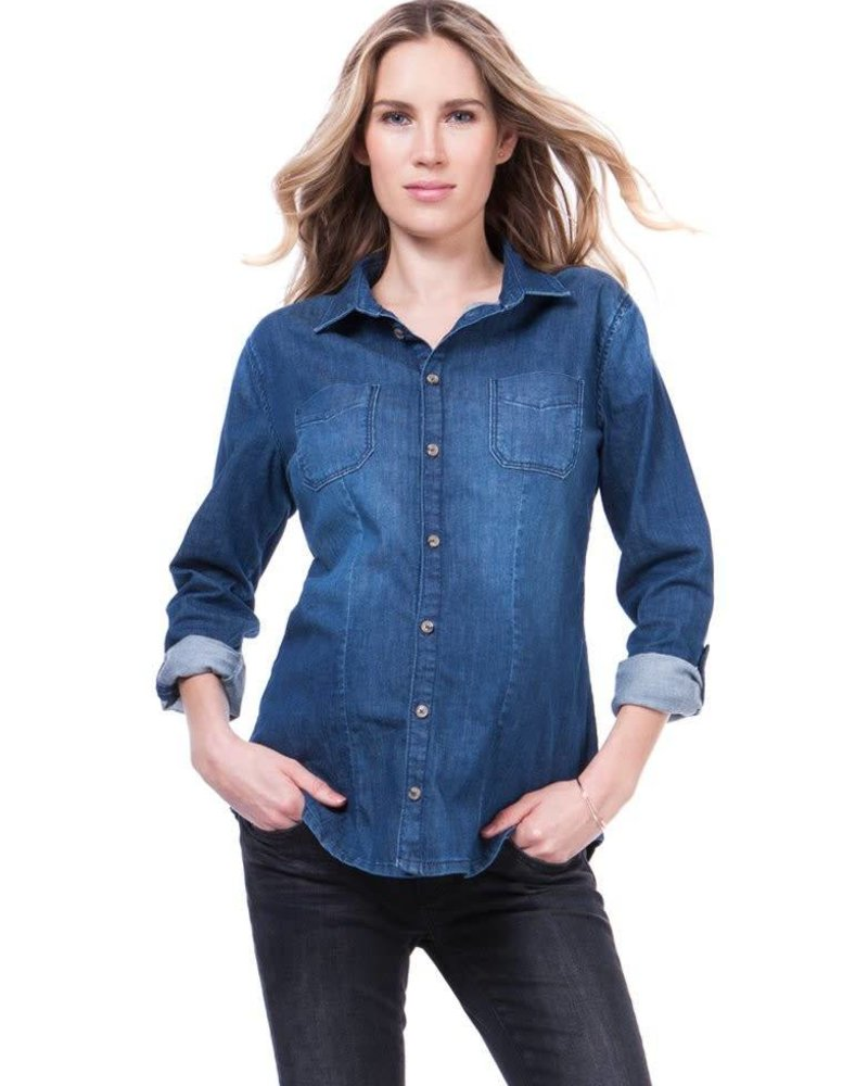 Seraphine Maternity Seraphine Maternity 'Carter' Roll Sleeve Denim Top (Medium) **FINAL SALE**