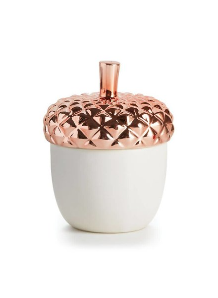 Illume Candles Autumnal Equinox Ceramic Acorn Candle in Copper Leaves