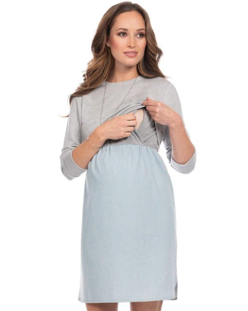 Seraphine Maternity Seraphine Maternity 'Cedar' Layered Bodice Maternity/Nursing Dress