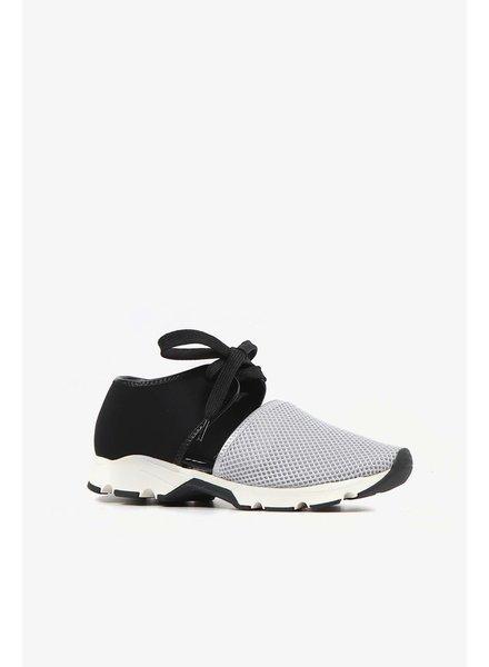 All Black Solid Mesh Sneaker in Silver