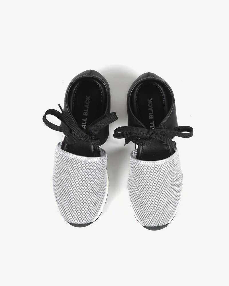 All Black All Black Solid Mesh Sneaker in Silver