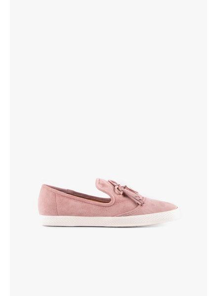 All Black Tassel Sneaker in Pink