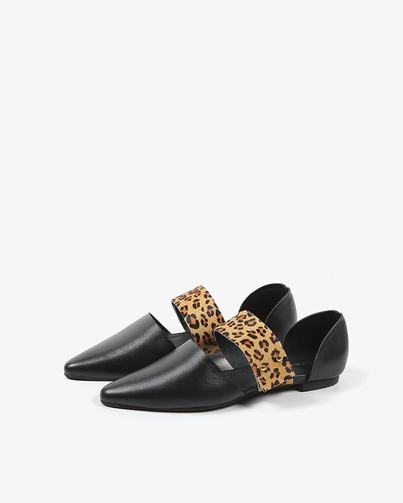 All Black All Black Jungle Band D'orsay Flat in Leopard **FINAL SALE**