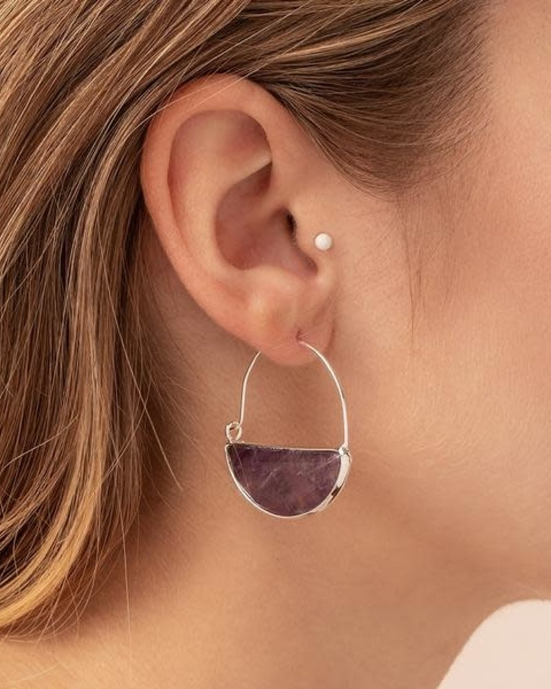 Scout Curated Wears Scout Amethyst & Silver Stone Prism Hoop Earrings