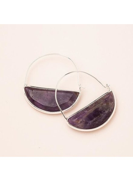 Scout Curated Wears Amethyst & Silver Stone Prism Hoop Earrings
