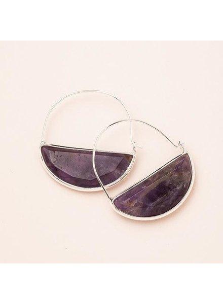 Scout Curated Wears Amethyst & Silver Stone Prism Hoop Earrings