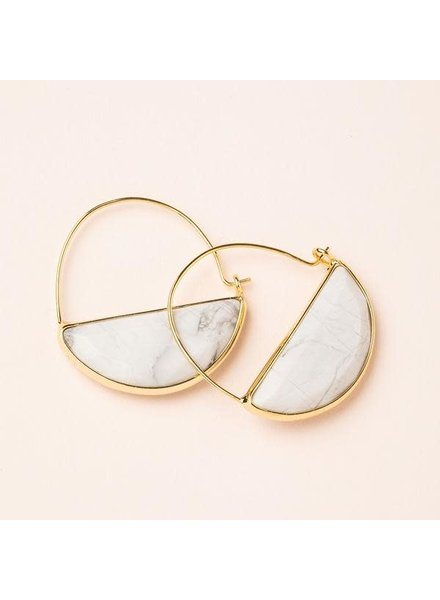 Scout Curated Wears Howlite & Gold Stone Prism Hoop Earrings