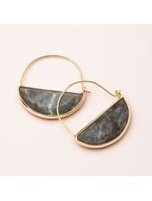Scout Curated Wears Labradorite & Gold Stone Prism Hoop Earrings