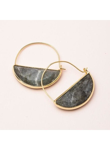 Scout Curated Wears Labradorite & Gold Stone Prism Hoop Earrings