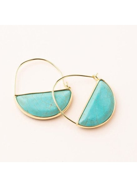 Scout Curated Wears Turquoise & Gold Stone Prism Hoop Earrings