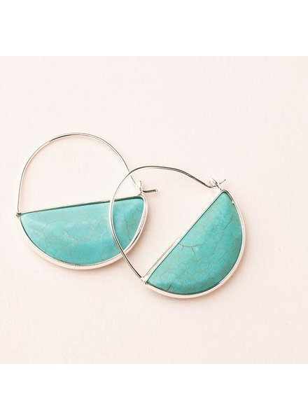 Scout Curated Wears Turquoise & Silver Stone Prism Hoop Earrings