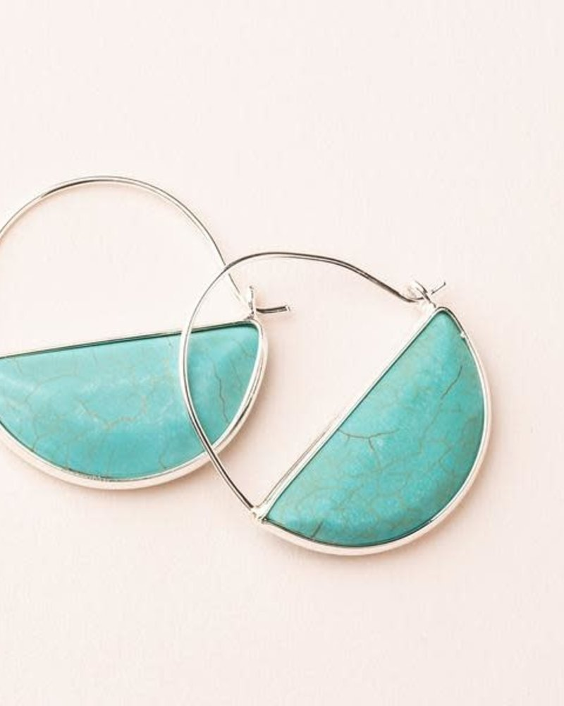Scout Curated Wears Scout Turquoise & Silver Stone Prism Hoop Earrings