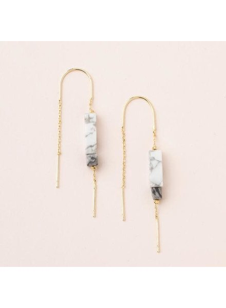 Scout Curated Wears Howlite & Gold Rectangle Stone Thread Earrings