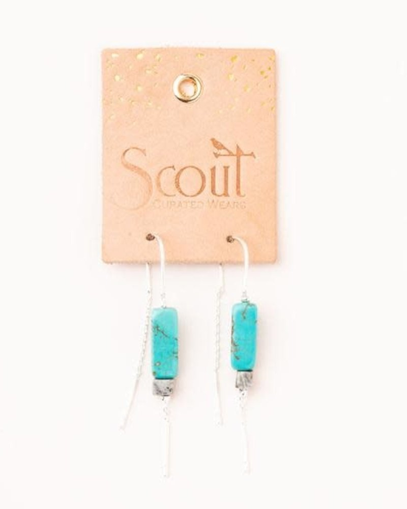 Scout Curated Wears Scout Howlite & Gold Rectangle Stone Thread Earrings