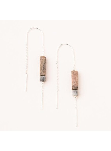 Scout Curated Wears Rhodonite & Silver Rectangle Stone Thread Earrings