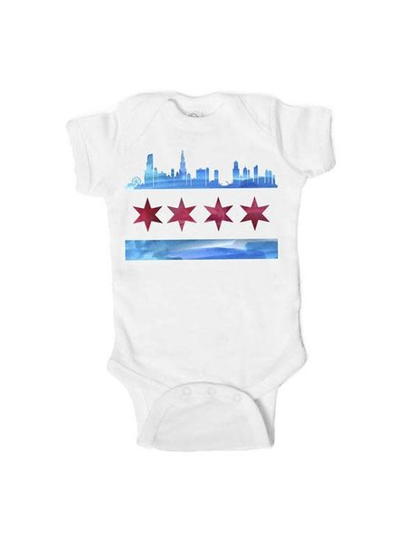 Emerson & Friends Short Sleeve Chicago Skyline Flag Onesie
