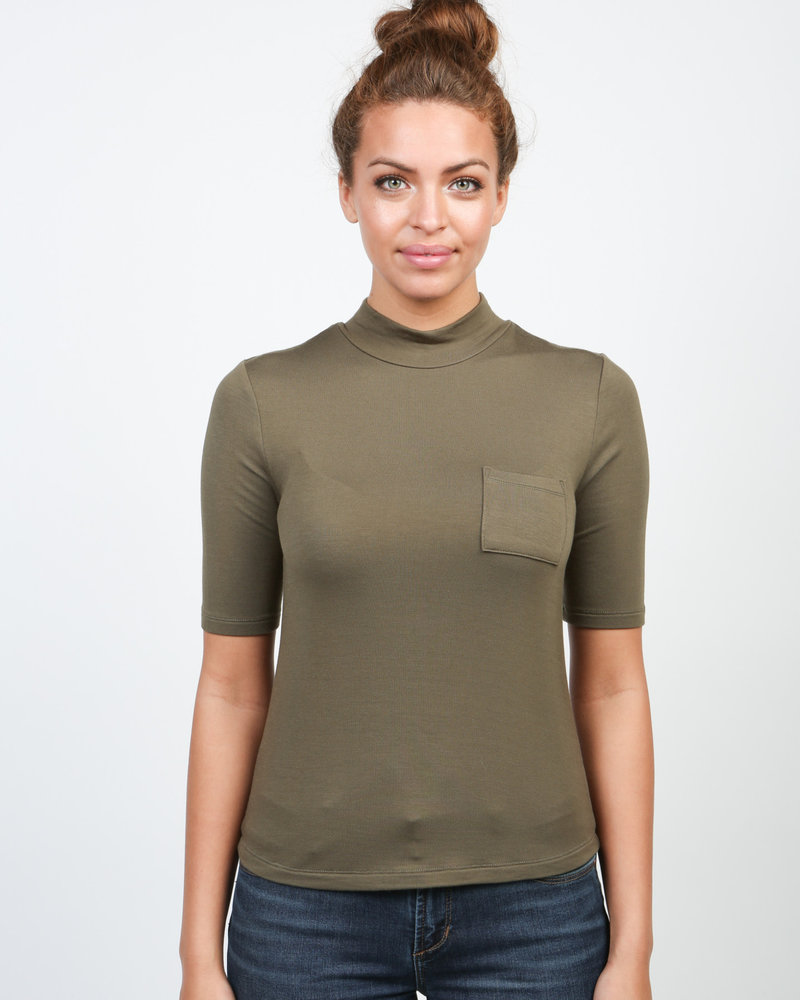 Articles of Society Articles of Society Military Green 'The Parisian' Baby Turtleneck Tee