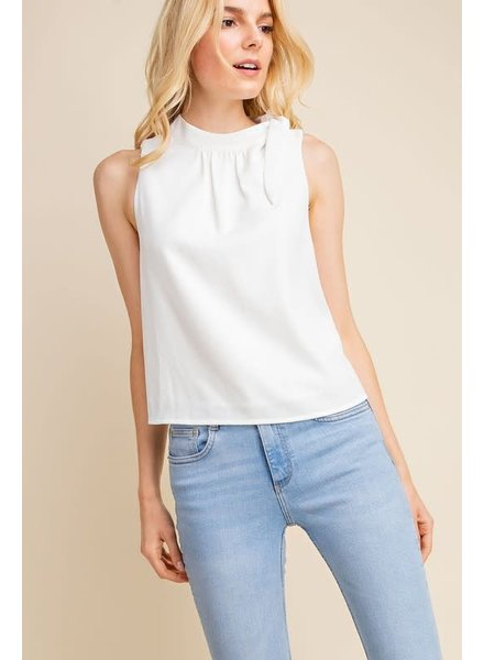 Gilli White 'Two Snaps' Side Tie Top