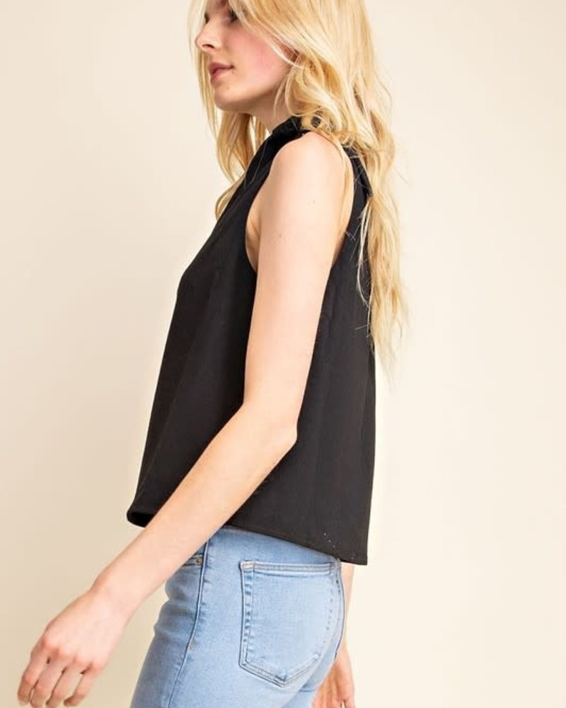 Gilli Gilli Black 'Two Snaps' Side Tie Top