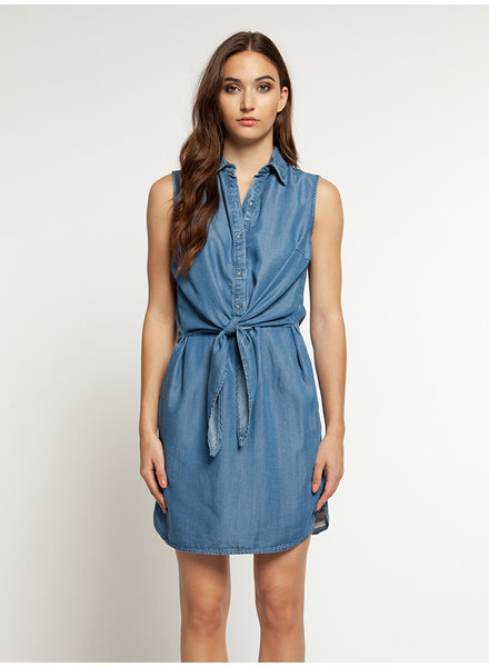 Dex 'Blue Wash' Belted Dress