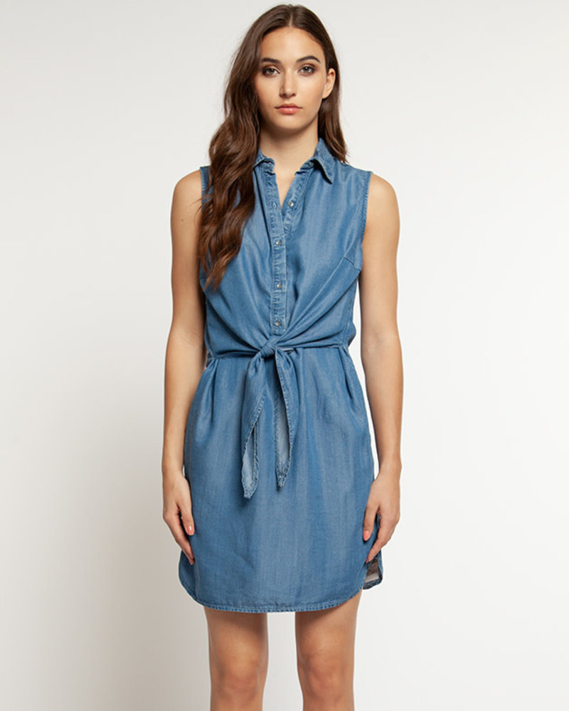 Dex Dex 'Blue Wash' Belted Dress