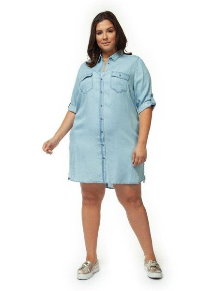 Dex Plus 'Ice Mama' Denim Shirt Dress