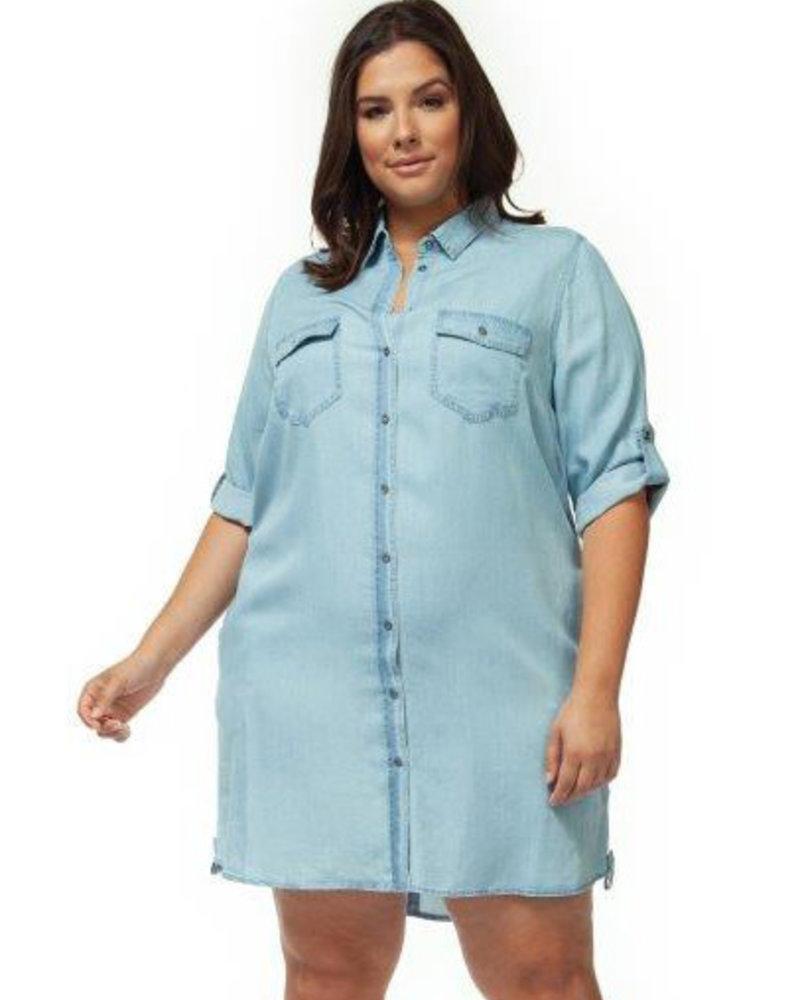 Dex Plus Dex Plus 'Ice Mama' Denim Shirt Dress