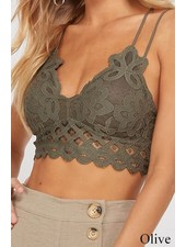 Wishlist Double Strapped Scalloped Lace Bralette (More Colors)