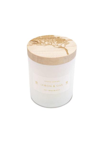 SKEEM Design Lemon & Oak Print Block Candle