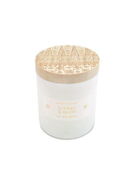 SKEEM Design Citrus & Olive Print Block Candle