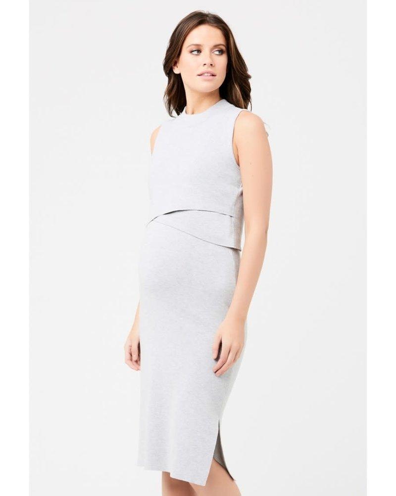 Ripe Ripe 'Silver Fox' Layered Knit Maternity Nursing Dress