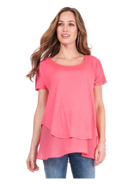 Seraphine Maternity Coral 'Roxanne' Layer Nursing Top (Extra Small) **FINAL SALE**