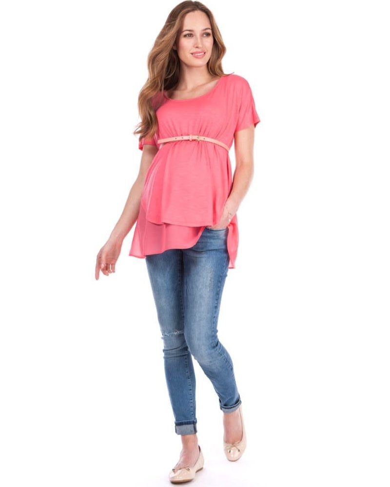 Seraphine Maternity Seraphine Maternity Coral 'Roxanne' Layer Nursing Top **FINAL SALE** Extra Small