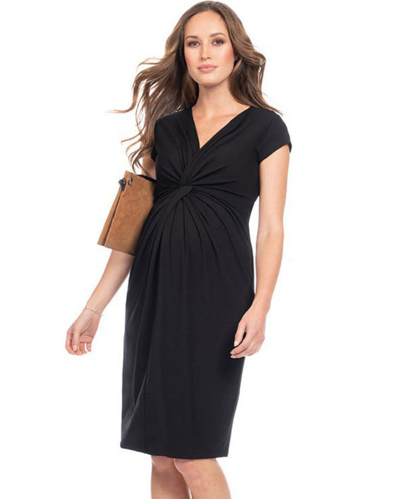 8053a77c18a29 Seraphine Maternity 'Cordelia' Knot Front Midi Dress - Belle Up Boutique