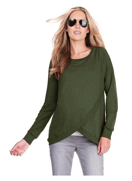 Seraphine Maternity Olive 'Sybil' Front Wrap Sweatshirt