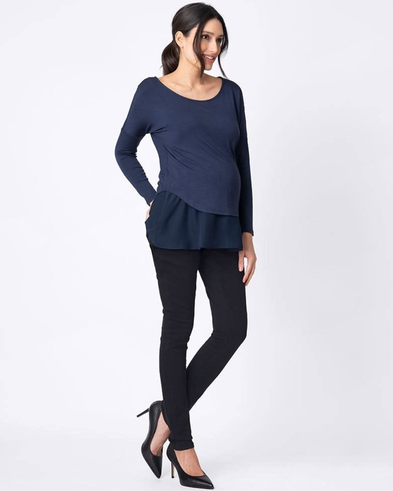 Seraphine Maternity Seraphine Maternity Blue 'Hilda' Layered Nursing Top