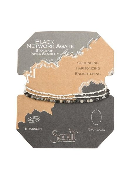 Scout Curated Wears Black Network Agate & Silver Delicate Stone Wrap Bracelet/Necklace