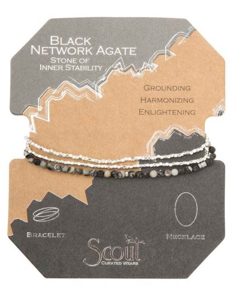 Scout Curated Wears Scout Black Network Agate & Silver Delicate Stone Wrap Bracelet/Necklace