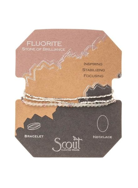 Scout Curated Wears Fluorite & Silver Delicate Stone Wrap Bracelet/Necklace