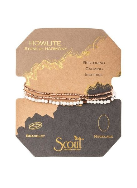 Scout Curated Wears Howlite & Rose Gold Delicate Stone Wrap Bracelet/Necklace