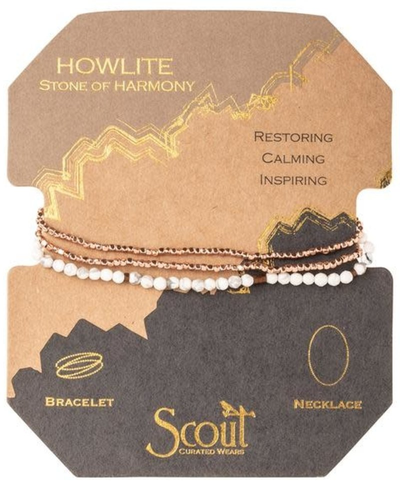 Scout Curated Wears Scout Howlite & Rose Gold Delicate Stone Wrap Bracelet/Necklace