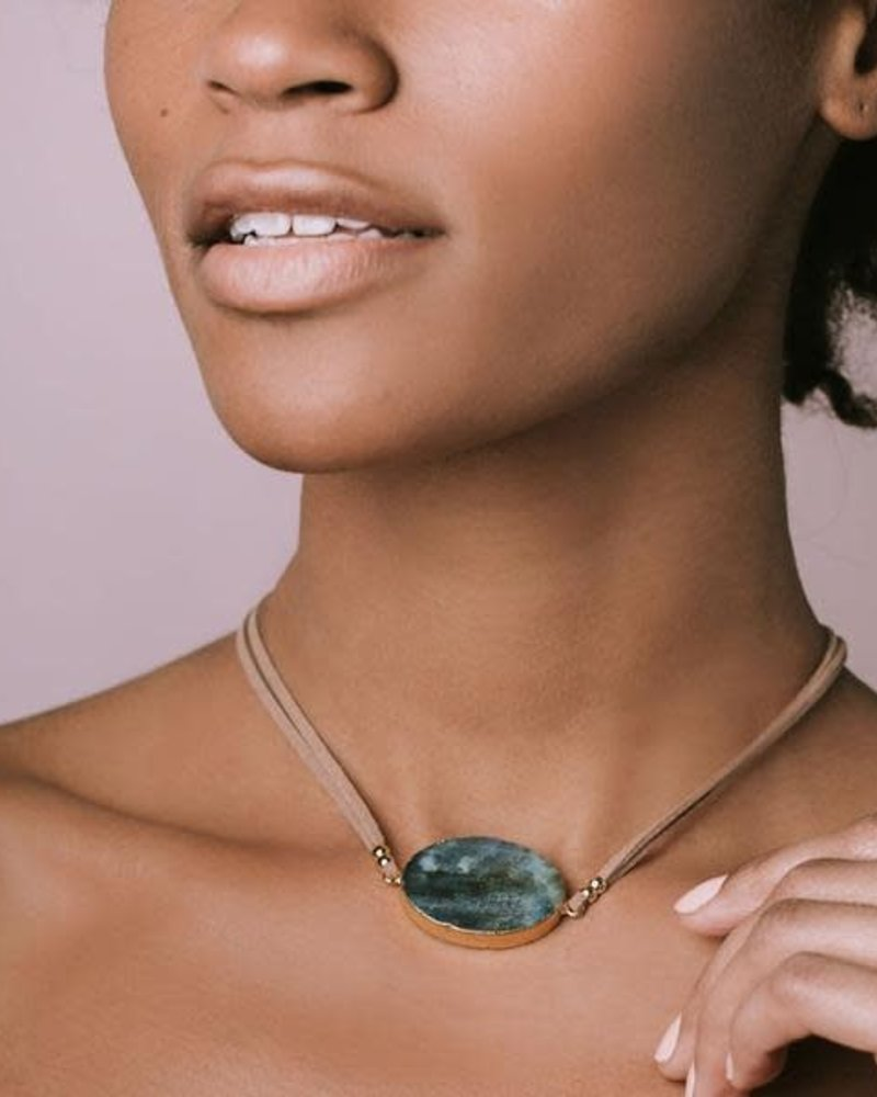 Scout Curated Wears Scout Amazonite & Gold Suede & Stone Wrap Bracelet/Necklace