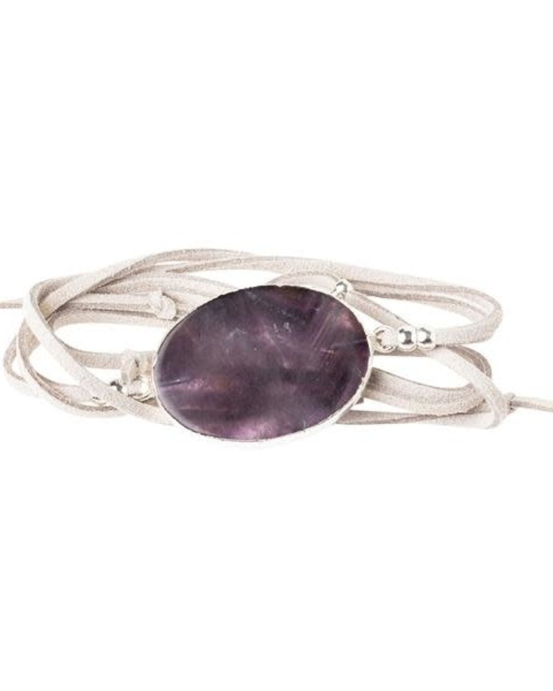 Scout Curated Wears Scout Amethyst & Silver Suede & Stone Wrap Bracelet/Necklace