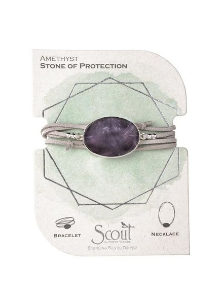 Scout Curated Wears Amethyst & Silver Suede & Stone Wrap Bracelet/Necklace
