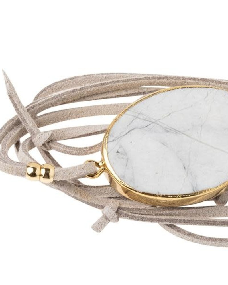Scout Curated Wears Scout Howlite & Gold Suede & Stone Wrap Bracelet/Necklace