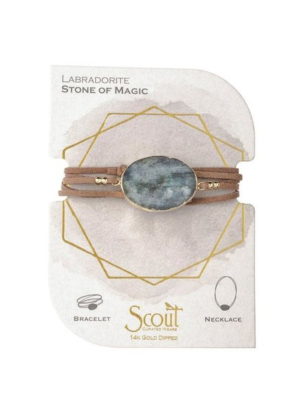 Scout Curated Wears Labradorite & Gold Suede & Stone Wrap Bracelet/Necklace