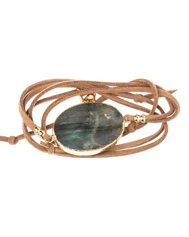 Scout Curated Wears Scout Labradorite & Gold Suede & Stone Wrap Bracelet/Necklace