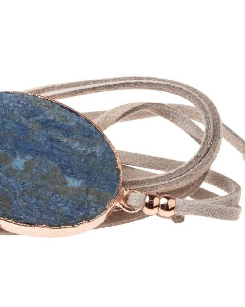 Scout Curated Wears Scout Lapis & Rose Gold Suede & Stone Wrap Bracelet/Necklace