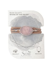 Scout Curated Wears Rose Quartz & Silver Suede & Stone Wrap Bracelet/Necklace
