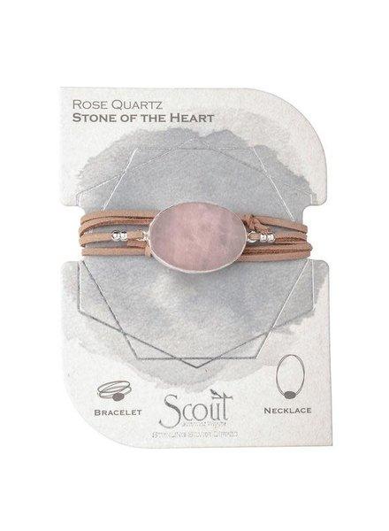 Scout Curated Wears Rose Quartz & Silver Suede & Stone Wrap Bracelet/Necklace